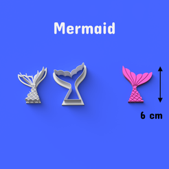 Download STL files Mermaid Cookie/Fondant Cutter, DL3D