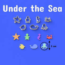 Download STL files Under the Sea Cookie/Fondant Cutters, DL3D