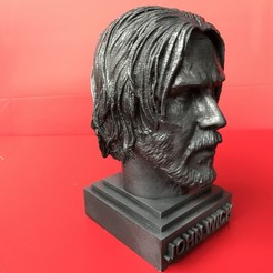 3D printer files John Wick - Keanu Reeves- sculpture of head 3D print ready, MarcArt