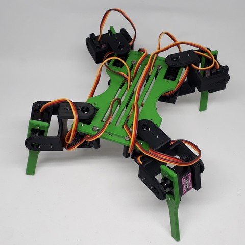 3D printer files Quadruped Quadrina robot for servo MG90S, AranaCorp