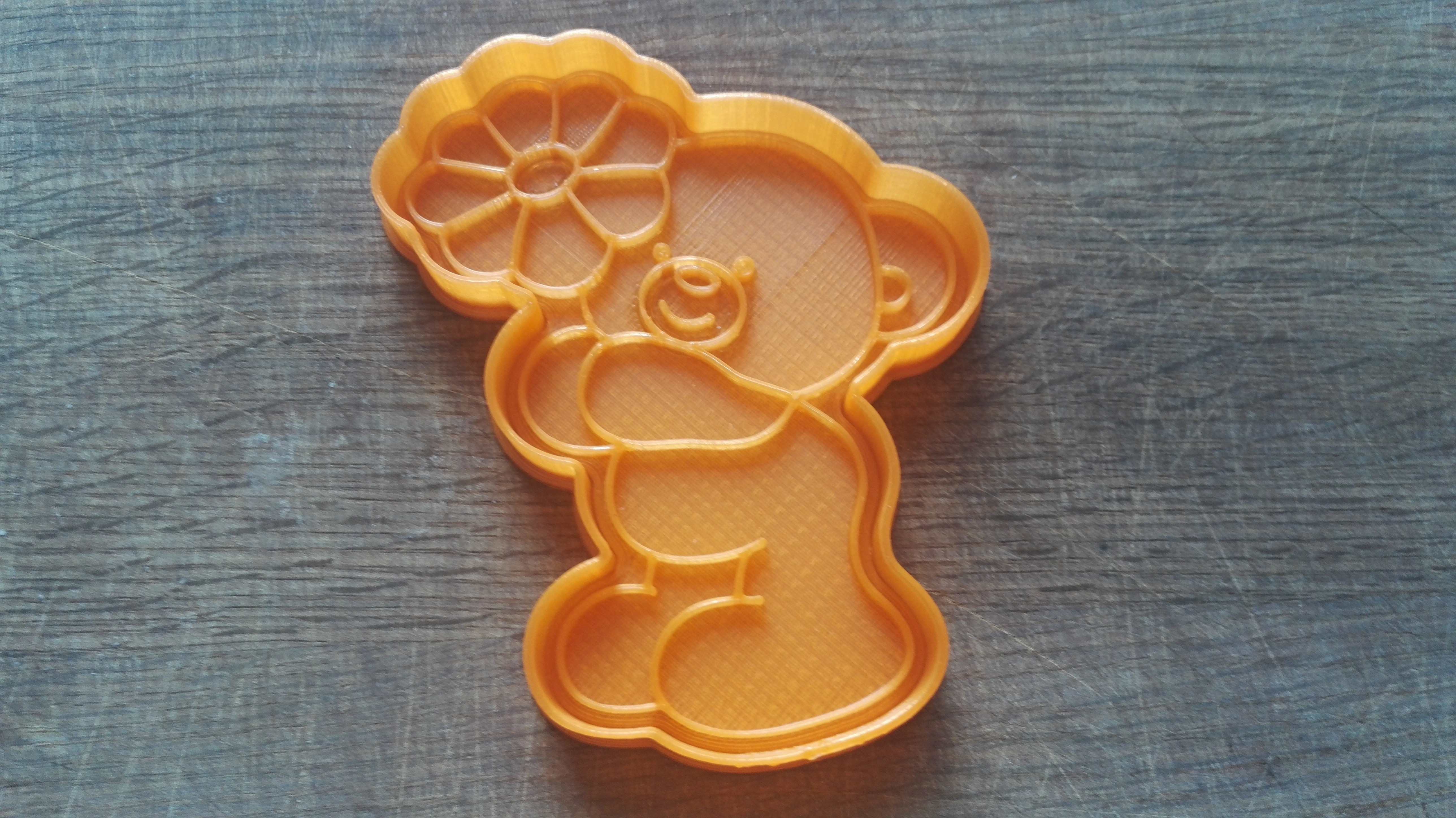 """IMG_20180227_135857.jpg Download STL file Cookie cutters. Form for cutting a cookie """"Bear with a flower"""" • 3D printer object, dejavydejavy"""