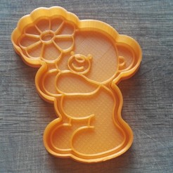 "STL files Cookie cutters. Form for cutting a cookie ""Bear with a flower"", dejavydejavy"