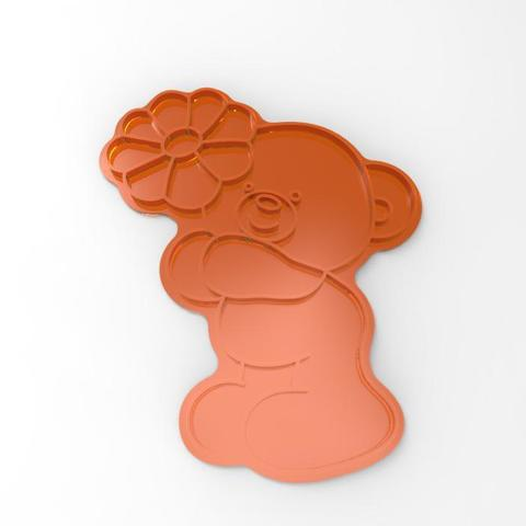 """100_P_mishka-s-romashkoyAI (print).jpg Download STL file Cookie cutters. Form for cutting a cookie """"Bear with a flower"""" • 3D printer object, dejavydejavy"""