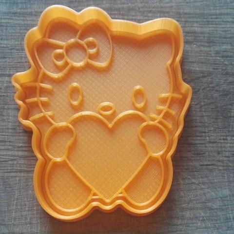 """Modelos 3D para imprimir CORTADOR DE GALLETAS. FORMULARIO PARA CORTAR UNA COOKIE """"gatito con corazón"""", dejavydejavy"""