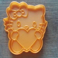 "IMG_20180227_135905.jpg Download STL file COOKIE CUTTERS. FORM FOR CUTTING A COOKIE ""kitten with heart"" • 3D printing object, dejavydejavy"