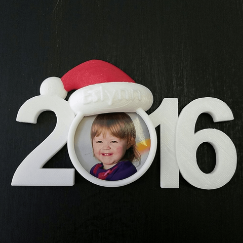 Free 3D printer designs 2016 Christmas Picture Ornament, stensethjeremy