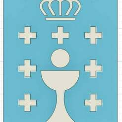 EscudoGalicia.jpg Télécharger fichier STL gratuit Logo Xunta de Galicia / bouclier de Galice ( Espagne ) • Plan imprimable en 3D, calistoellisto