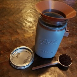 Free stl files Coffee scoop, scoop holder, and funnel for mason jar, CWCDesigns