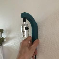 3D printer file suspended wall lamp / lampe murale suspension d'ampoule, videix