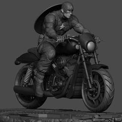 Download free 3D printing files Captain America by motorcycle, 3DArt