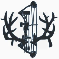 Download 3D printer templates Bow with Antlers wall silhouette wall hanging, jwmustanggt