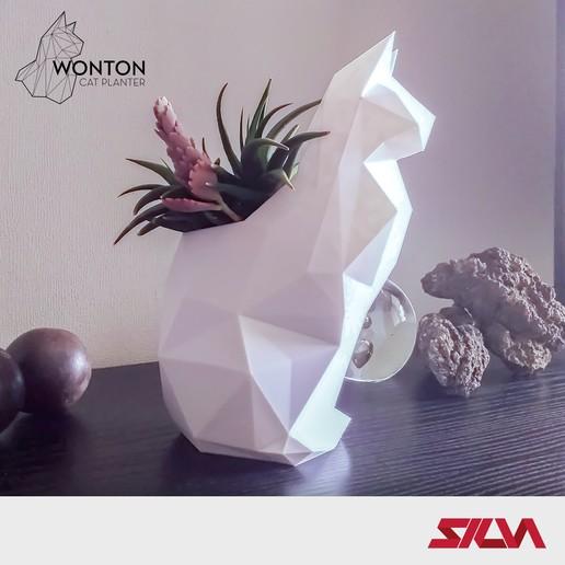 Download 3D printer designs Wonton Cat Planter, silva3d