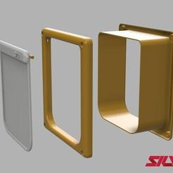 E.jpg Télécharger fichier STL Porte pour chat (Mais elle fonctionne pour tout autre animal de petite taille) • Design pour impression 3D, silva3d