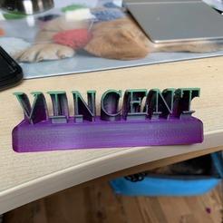 Prén Vincent.jpg Download free STL file First name in 3D • 3D printing design, Nivalvincent