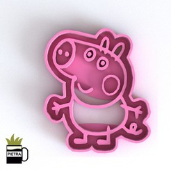 Download 3D model GEORG PIG COOKIE CUTTER MOLD FONDANT 3D PRINT MODEL, Gustavo015