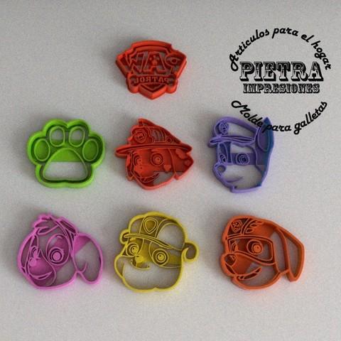 Modèle 3D Biscuits Patrouilles Patrouilles Fondant Paw Moule à découper, Gustavo015