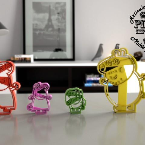 familia pig.jpg Download STL file Peppa Pig Family Cookie Cutter • 3D printer model, Gustavo015