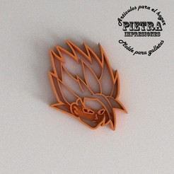 Imprimir en 3D MOLDE CORTANTE PARA GALLETAS FONDANT DRAGON BALL GOKU SSJ2, Gustavo015