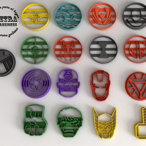 3D printer models Cookie Cutting Mold Fondant Avengers 1 and 2, Gustavo015
