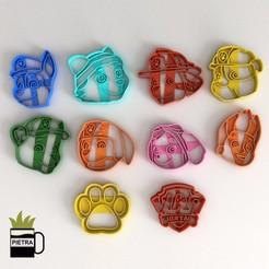 Imprimir en 3D PAW PATROL MOLDE CORTANTE PARA GALLETAS FONDANT SEGUNDA TEMPORADA, Gustavo015