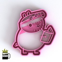 Download 3D printing designs DADDY PIG MOLD FONDANT COOKIE CUTTERS 3D PRINT MODEL, Gustavo015