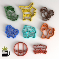 Download 3D printer designs CUTTING MOULD FOR FIRST GENERATION FONDANT POKEMON BISCUITS, Gustavo015