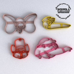 STL file CUTTING MOULD FOR FONDANT DUMBO DISNEY BISCUITS, Gustavo015
