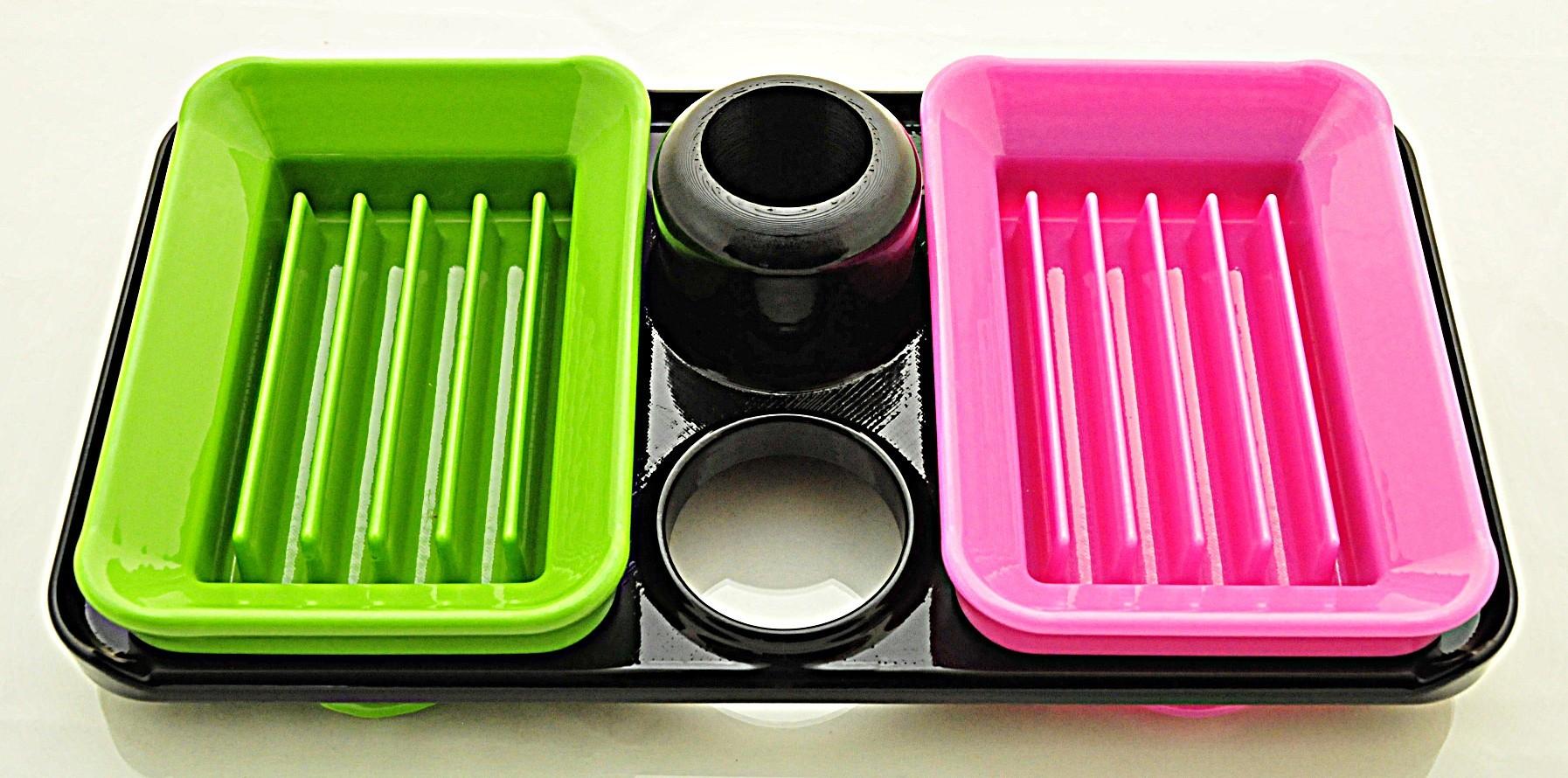 DishesAndTrayPolished.jpg Download free STL file  Interchangeable Shower Soap Dish System • Model to 3D print, Sue3DDesigns