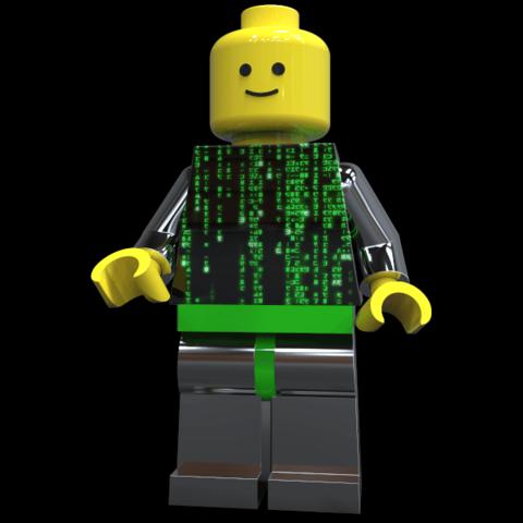 "Free 3d printer files Lego Man ""Neo the One"" , SE_2018"