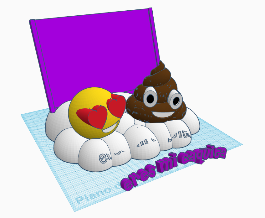 con letras nube.PNG Download STL file Emoticon photo frame • 3D printer template, LnZProd