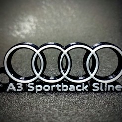 Download STL Key ring Audi A3 Sportback S Line 2 colours, LnZProd