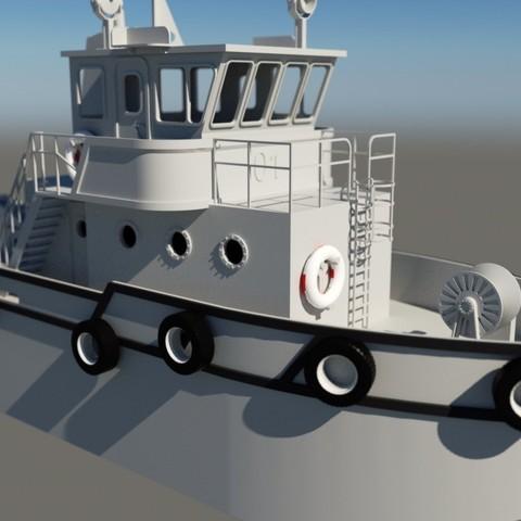 render2.jpg Download STL file MONAKO RC MODEL BOAT TUG • 3D printable template, maca-artwork