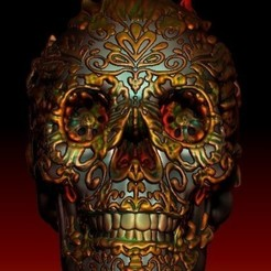 3D printing model Flaming Sugar Skull, 3rdesignworks