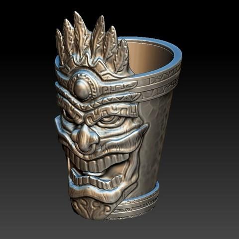 tiki_shotglass1a.jpg Download OBJ file Tiki Shotglass • 3D print design, 3rdesignworks