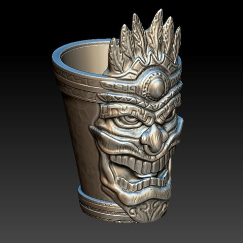 tiki_shotglass1b.jpg Download OBJ file Tiki Shotglass • 3D print design, 3rdesignworks