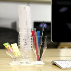 Free Desk Organizer for PET Bottle Caps STL file, Chiisakobe