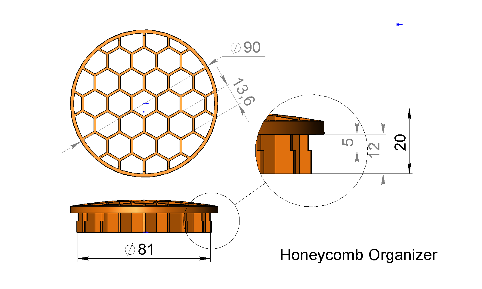 Honeycomb Organizer.PNG Download free STL file simple tools holder • 3D printable template, 3DLadnik