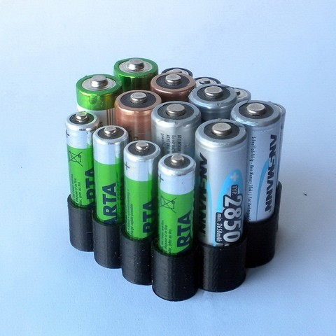 BatteryOrganizer01.JPG Download free STL file AA & AAA Battery Organizer • 3D printing design, 3DLadnik