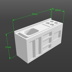 Download 3D printer designs 1:50 scale model kitchen, 3Diego