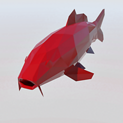 Télécharger fichier imprimante 3D koi low poly, 3Diego