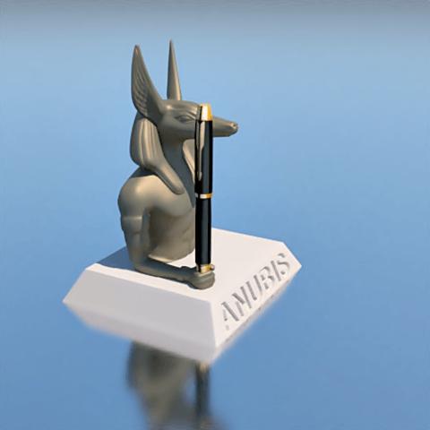 3.png Download STL file PENCIL HOLDER, ANUBIS • 3D printing design, 3Diego