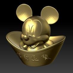 米奇恭喜发财金元宝 3.jpg Download STL file Mickey Chinese new year Gold Ingot • Object to 3D print, 3D_Dragon