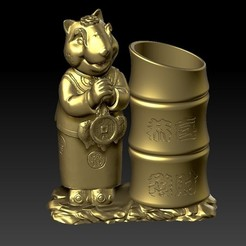 Download 3D print files China Year of the Rat Fortune Pen holder 3, 3D_Dragon