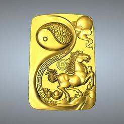 STL Pendentif I Ching Tai Chi Zodiaque 7 Chevaux, 3D_Dragon