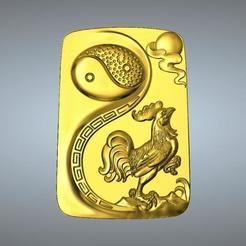 Plan imprimante 3D Pendentif I Ching Tai Chi Zodiaque Pendentif 10 Coq, 3D_Dragon