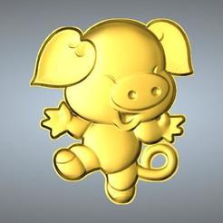 Free STL files QA TYPE ZODIAC PENDANT 12 PIG, 3D_Dragon