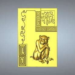 Download 3D printer templates 09-Textured Chinese zodiac Monkey, 3D_Dragon