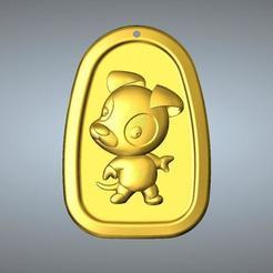 Impresiones 3D QC tipo Zodiac colgante 11 Perro, 3D_Dragon