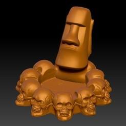 摩艾魔鬼烟灰缸4.jpg Download STL file Moai Devil Ashtray • 3D printer design, 3D_Dragon