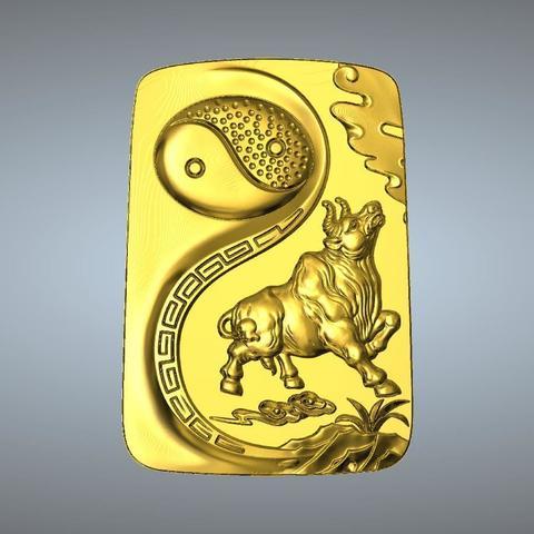 STL file I Ching Tai Chi  Zodiac pendant 2 OX, 3D_Dragon